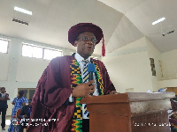 Professor Albert Luguterah, Principal, Navrongo Campus, addressing the students