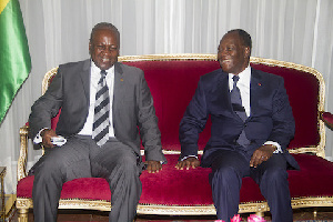 File photo: John Mahama with President Alassane Ouattar