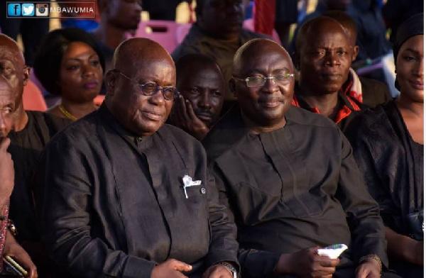 Nana Akufo-Addo and Dr Bawumia at the late Kwabena Boadu's one week celebration
