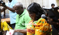Akua Donkor and her husband at the EC yesterday