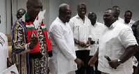 Former President John Mahama with Koku Anyidoho and others