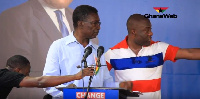 Prof. Frimpong Boateng being walked off stage at the NPP's manifesto launch