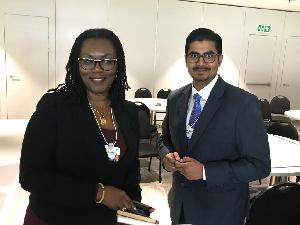 Ursula Owusu-Ekuful, Communications Minister (left)
