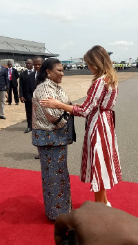 Mrs. Rebecca Akufo-Addo interacting with Mrs. Melania Trump at the airport