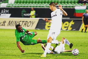 Ghanaian striker, Bernard Tekpetey in action against Cherno More Varna