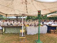 Science students of Oti Boateng Senior High School exhibiting their inventions