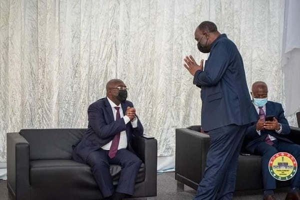 Vice President Dr Bawumia (seated) and Trade Minister, Alan Kyerematen