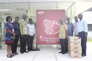 Unilever Ghana present some items to some beneficiary institutions