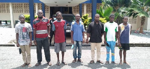 The seven were arrested by the police