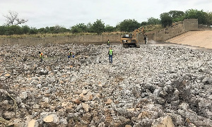 Truckloads of stones chips and sand have being transported to the site
