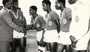 The Ghanaian team being inspected by Dr Kwame Nkrumah