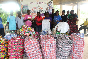 The Joy Train making donation to the Agyanua-Akwapim and Mariakrom communities