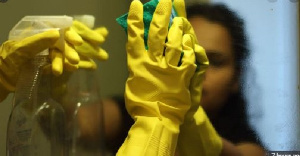 File Photo: Kekeli works as a cleaner