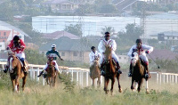 Some horse racers in a competition