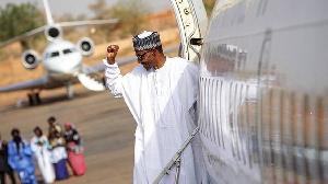 Buhari as im dey leave on one trip   File foto