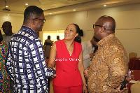 Jean Mensa with Dr Emmanuel Akwetey and Dr Kojo Asante