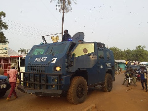 A police patrol vehicle in Yendi township.