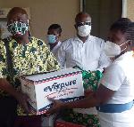 Ho Teaching Hospital receiving donation from Viviana Lebenam Foundation