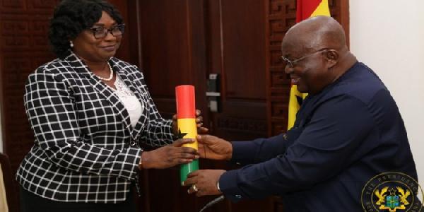 Ms Jane Cynthia Naa Torshie Lamptey (L) and President Akufo-Addo
