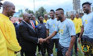 President Akufo-Addo with Black Stars players