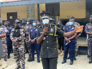 COP George Akuffo Dampare speaking to his officers before the demonstration
