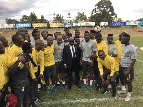 The President visited the Black Stars ahead of their game against Ethiopia