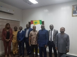 NLA Director-General  Kofi Osei-Ameyaw in a photo with the Ivorian delegation