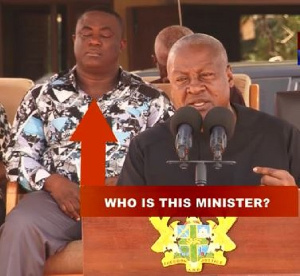 The Minister was captured  in a video  dozing off while Mahama was addressing gathering in his tour