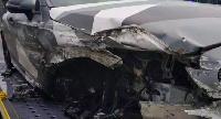 Mubarak Wakaso's mangled car after the accident