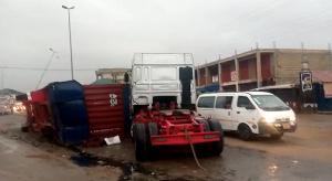 The truck believed to be heading towards Amasaman from Takoradi