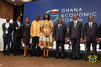 President Akufo-Addo and some government officials at the  Ghana Economic Forum