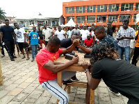 Derick Kwaakye and Ernest Danso battling at Northern Regional armwrestling challenge