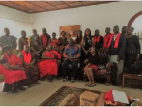 Former President John Agyekum Kufuor with delegation from the Ngleshie Alata Traditional Council