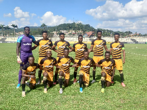 Ashanti Gold squad line up for a GPL fixture
