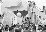 Demonstrators stage a protest at Cape Kennedy, Florida, on the eve of the Apollo 11 moon mission