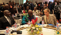 President Akufo-Addo, Dr. Muhamudu Bawumia and the UK Minister of State for Africa, Harriet Baldwin