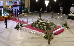 The mortal remains of the late former President Jerry John Rawlings lying in state