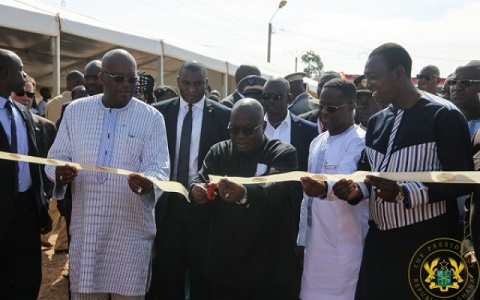 President Akufo-Addo cutting sod for the opening of the power plant
