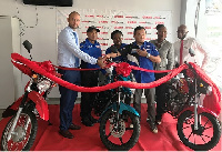 Mr. Amine Kabbara (left) with top Executives of JMTC and Yamaha Motor Co. unveiling the motorcycles