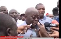 Nana Akufo-Addo speaks to the media after casting his vote at Kyebi.