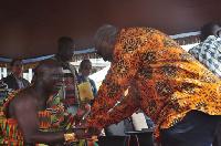 File photo: Otumfuo welcomes President Mahama to Manhyia