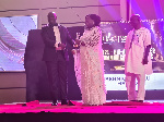 Former, MP for Hohoe Dr. Bernice Adiku Heloo receiving her award from organisers