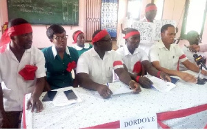 Some angry Ankaful Psychiatric Hospital nurses in red arm bands