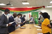 Kwaku Agyeman-Manu inaugurating the board of KBTH