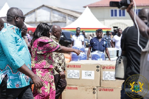 President Akufo-Addo and the Fisheries Minister inspecting the fishing equipment