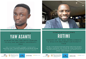 Yaw Boadi Asante and Rotimi are the new winners for the University of William & Mary MBA scholarship