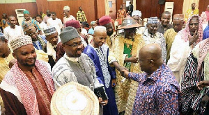 File photo of leaders of the Fulani community greeting Akufo-Addo
