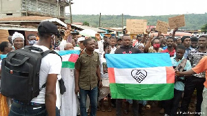 Protestors gather for a demonstration demanding sovereignty of Western Togoland