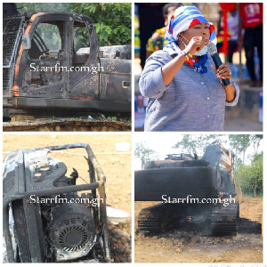 Kate Gyamfua's 8 excavators were burnt by the military taskforce