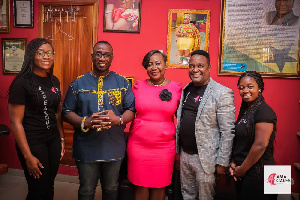 Oheneyere Gifty Anti and her husband pose with Founder of AmaCares and her team
